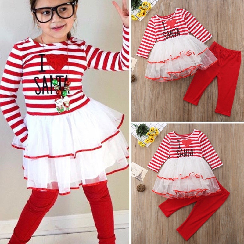 Newborn Kids Baby Girls Christmas Lace Stitching Stripes Dress + Long Pants 2Pcs Outfits Set