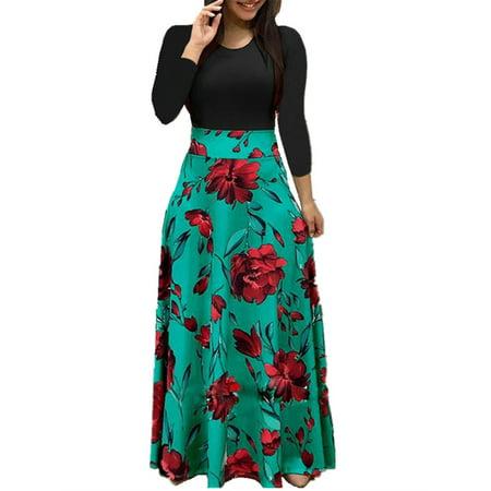 Flower Print Women Slim Floor Length Party Dress