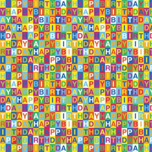 """Printed Gift Wrap 5'x30"""" Roll-Happy Birthday Checkerboard"""
