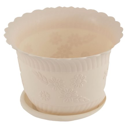 Home Office Garden Plastic Floral Pattern Plant Flower Pot Beige w Tray (Pattern Pot)