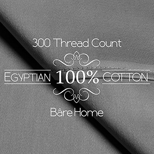 Egyptian Cotton 300 Thread Count Sateen Full Sheet Set (Full, Grey)