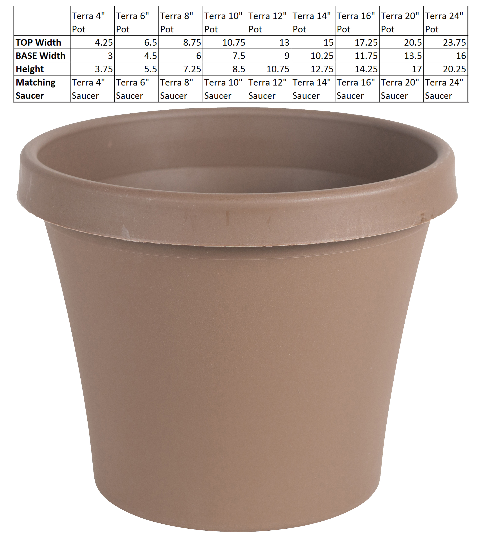 "Bloem Terra Pot Planter 4"" Chocolate"