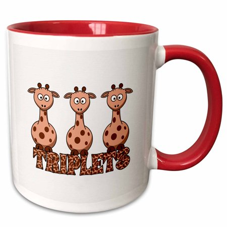 3dRose Three Giraffes with Giraffe Print for Non Gender Specific Triplets - Two Tone Red Mug, 11-ounce ()