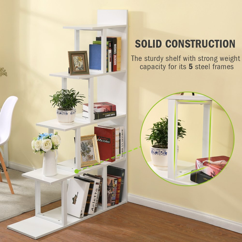 Tribesigns 5-Shelf Ladder Corner Bookshelf, Modern Simplism Style ...