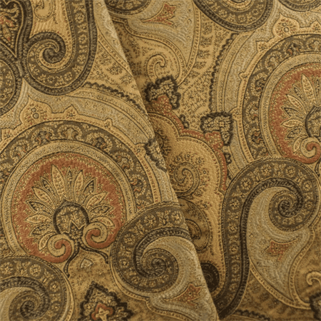 Multi/Beige Paisley Jacquard Home Decorating Fabric, Fabric By the Yard