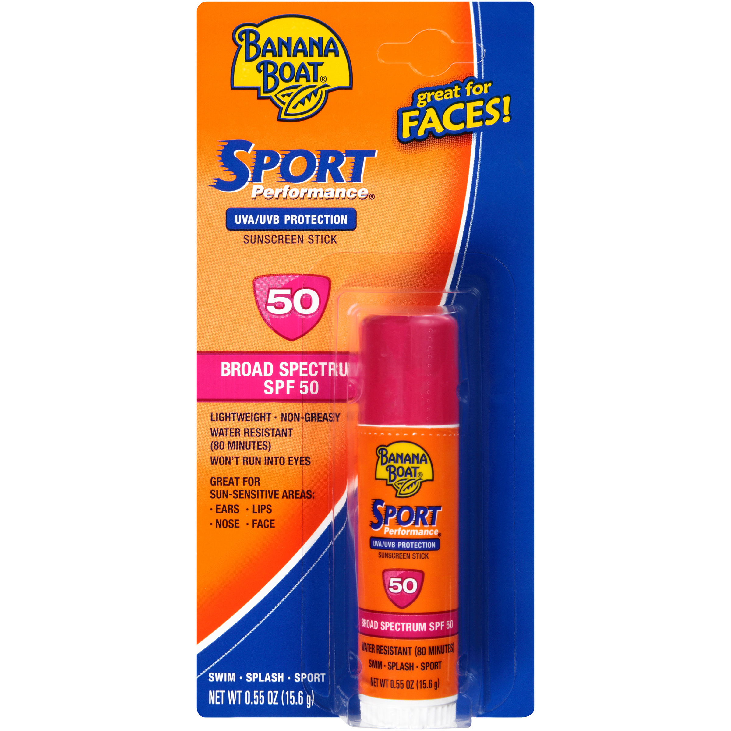 Banana Boat Sport Performance Face Sunscreen Stick Broad Spectrum SPF 50 - 0.55 Ounces