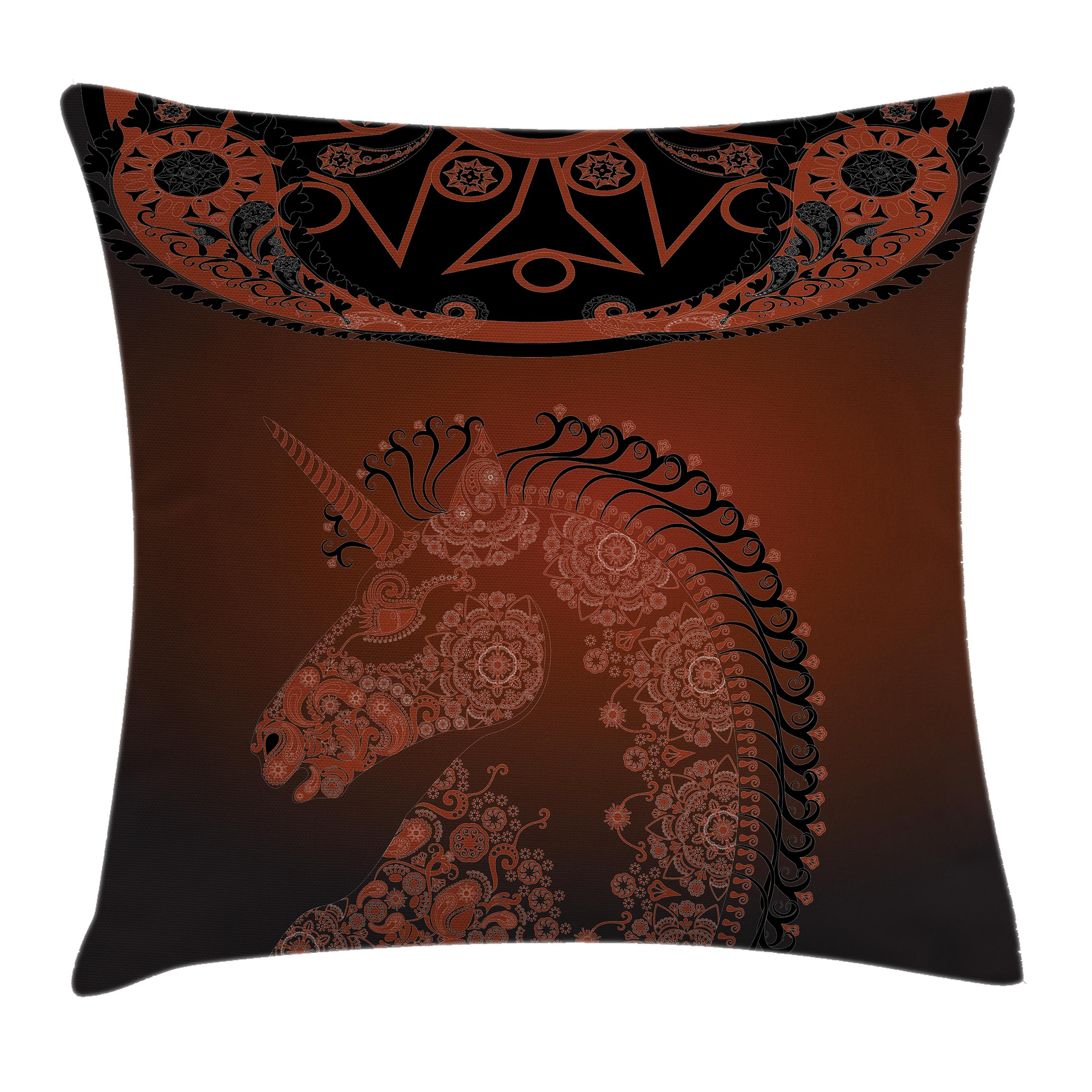 Unicorn Home and Kids Decor Throw Pillow Cushion Cover, Ethnic Unicorn Profile with Asian Embellish Lace Mandala Details Decor, Decorative Square Accent Pillow Case, 16 X 16 Inches, Red, by Ambesonne