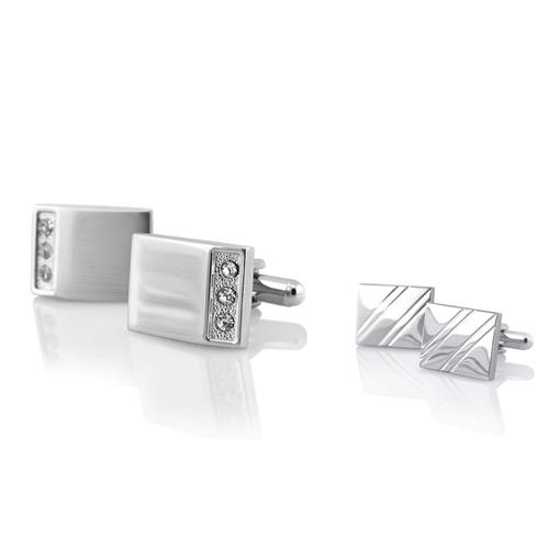 Zodaca Silver Rectangle with 3 Jewel Cufflinks+Silver Square Diagonal Ribbed Cuff Links