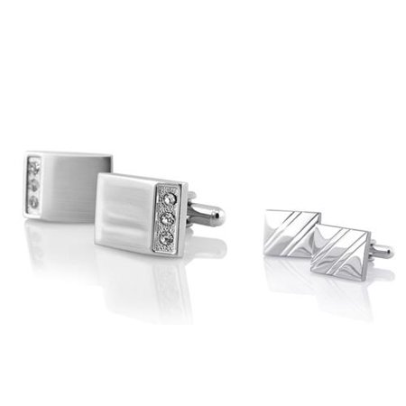 Silver Rectangle with 3 Jewel Cufflinks+Silver Square Diagonal Ribbed Cuff Links