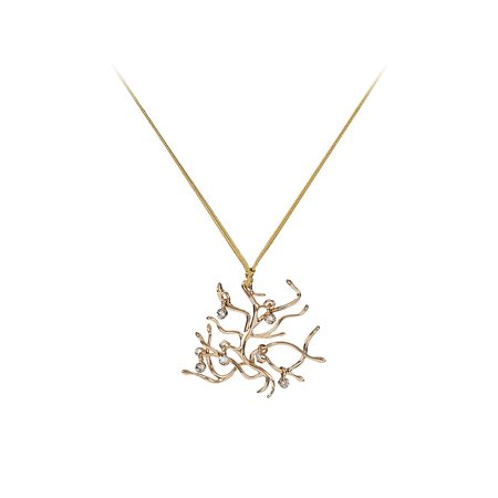 Beauty and the Beast Gold Tone Branches Necklace w/Gift (Beauty And The Beast Rose Necklace Gold)
