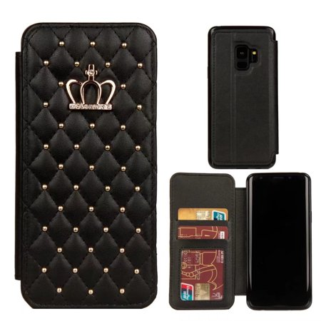For Samsung Galaxy S9 Bling Diamond Crown Leather Flip Wallet Case Cover, (Black Leather Case)