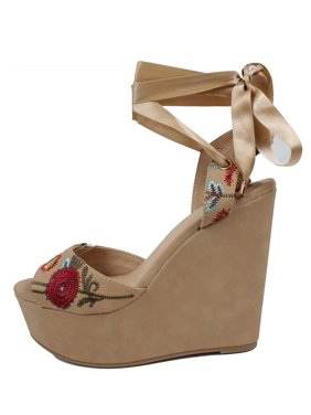 7a236271b76 Product Image Delicious Women s Open Toe Flower Stitching Ankle Wrap Tie  Platform Wedge