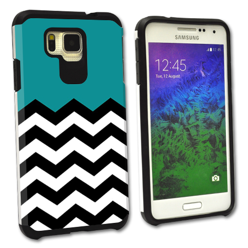 MightySkins Protective Bumper Case Cover for Samsung Galaxy Alpha hybrid tpu rubber plastic Teal Chevron