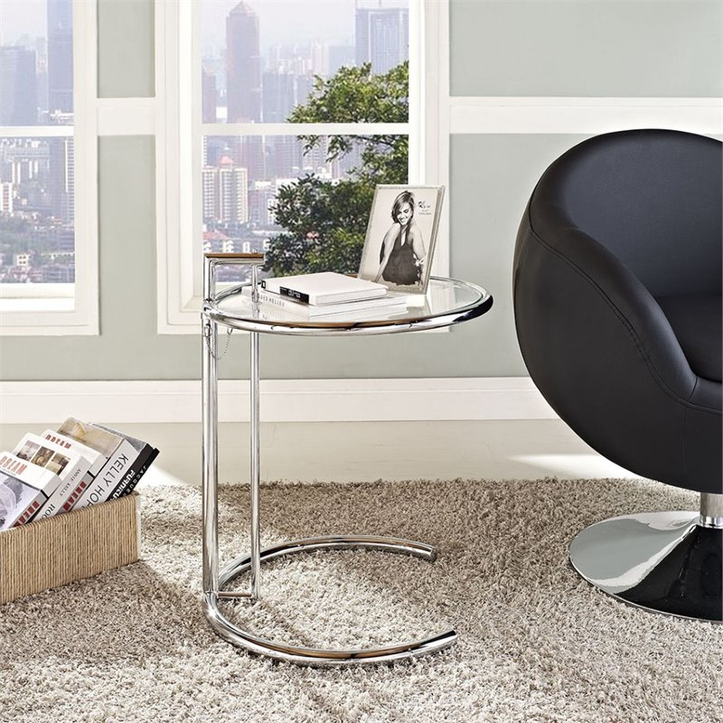 Hawthorne Collection Glass Top Adjustable End Table in Silver - image 1 de 5