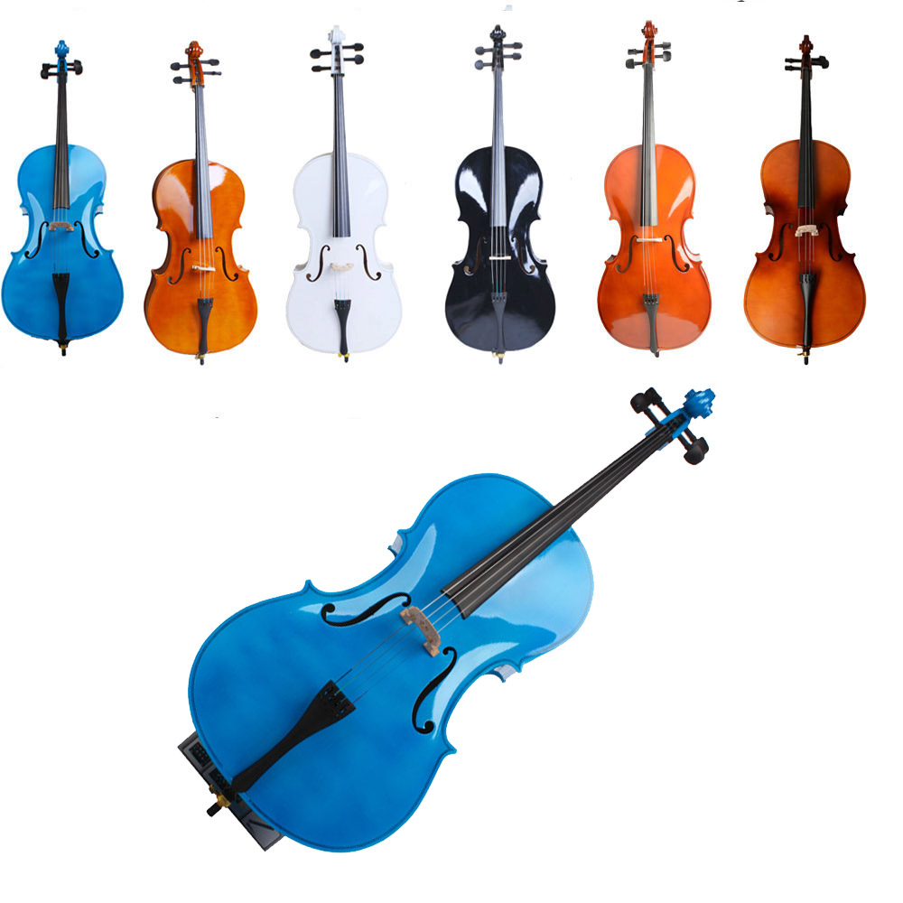 Ktaxon Beginner Cello 4/4 Full Size BassWood + Bag + Bow + Rosin + Bridge Natural Color