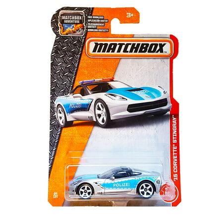 Corvette Police Car (2017 '15 Corvette Stingray (Police Car) 64/125, Silver, 1:64 scaled die-cast police car. By Matchbox From USA )