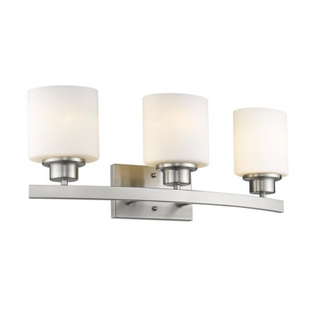 - CHLOE Lighting AALIYAH Contemporary 3 Light Brushed Nickel Bath Vanity Light Opal White Glass 23