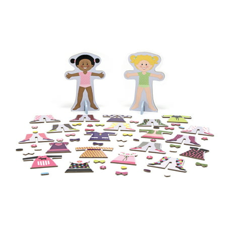 Melissa & Doug Tops and Tights Magnetic Dress-Up Wooden Doll Pretend Play Set (56+ Pieces)
