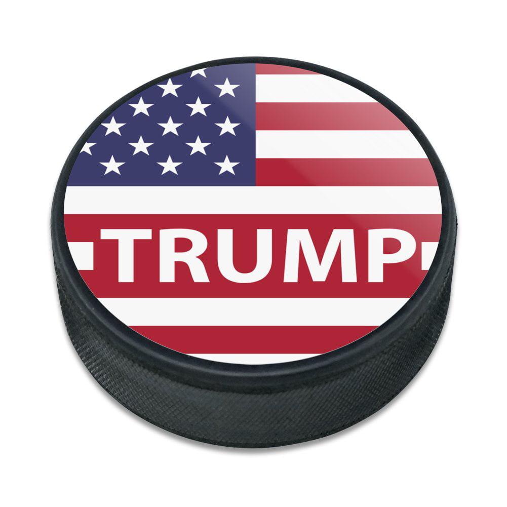 President Trump American Flag Ice Hockey Puck
