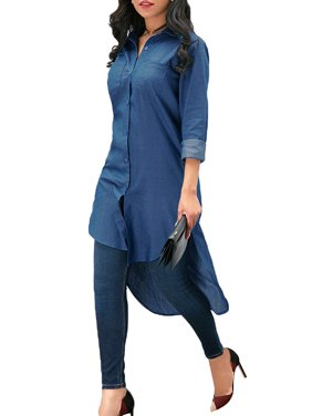 JDinms Womens Vintage Long Sleeve High Low Hem Denim Shirt Dress
