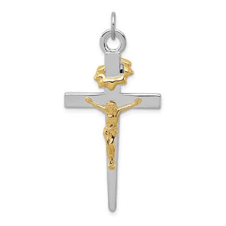 925 Sterling Silver Rhodium Plated and Gold-Plated Crucifix Pendant - image 1 of 2