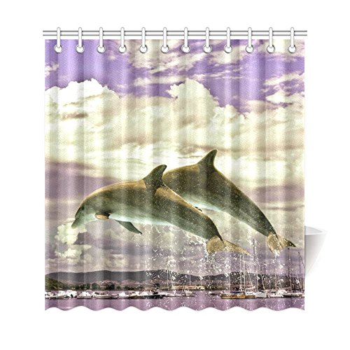 GCKG Ocean Life Shower Curtain Couple Of Jumping Dolphins Polyester Fabric Bathroom Sets With Hooks 66x72 Inches