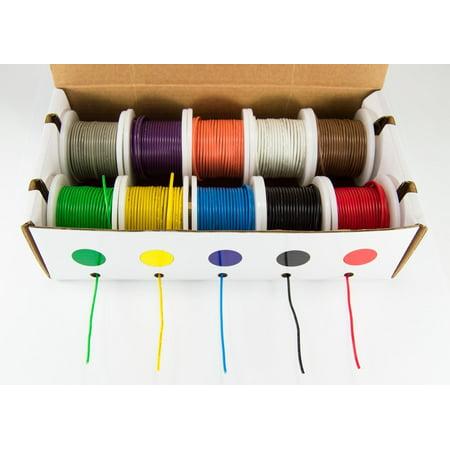 Hook-Up Wire Kit - Solid Wire, 22 Gauge (Ten 25 Foot Spools ...