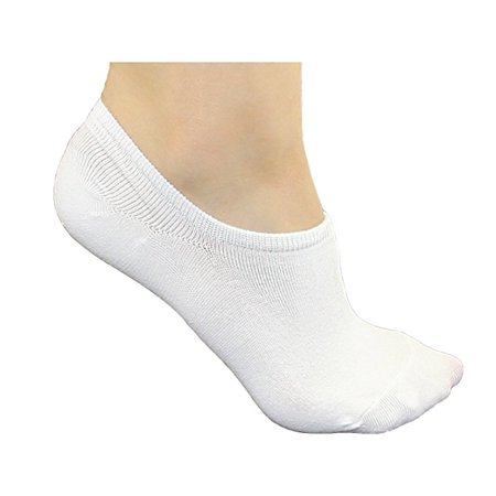 DL furniture 6 Pairs Cotton No Show Athletic Socks Thin Loafers Non Slip Boat Liners White