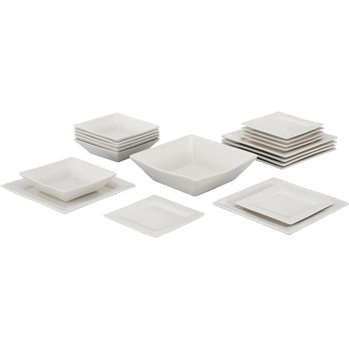 10 Strawberry Street Nova Square 19-Piece Dinnerware Set, Cream White by 10 Strawberry Street