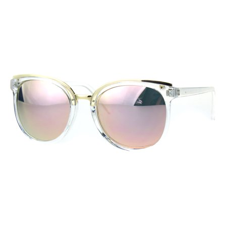Womens Metal Brow Round Horned Cat Eye Goth Chic Diva Sunglasses Clear Pink  Mirror