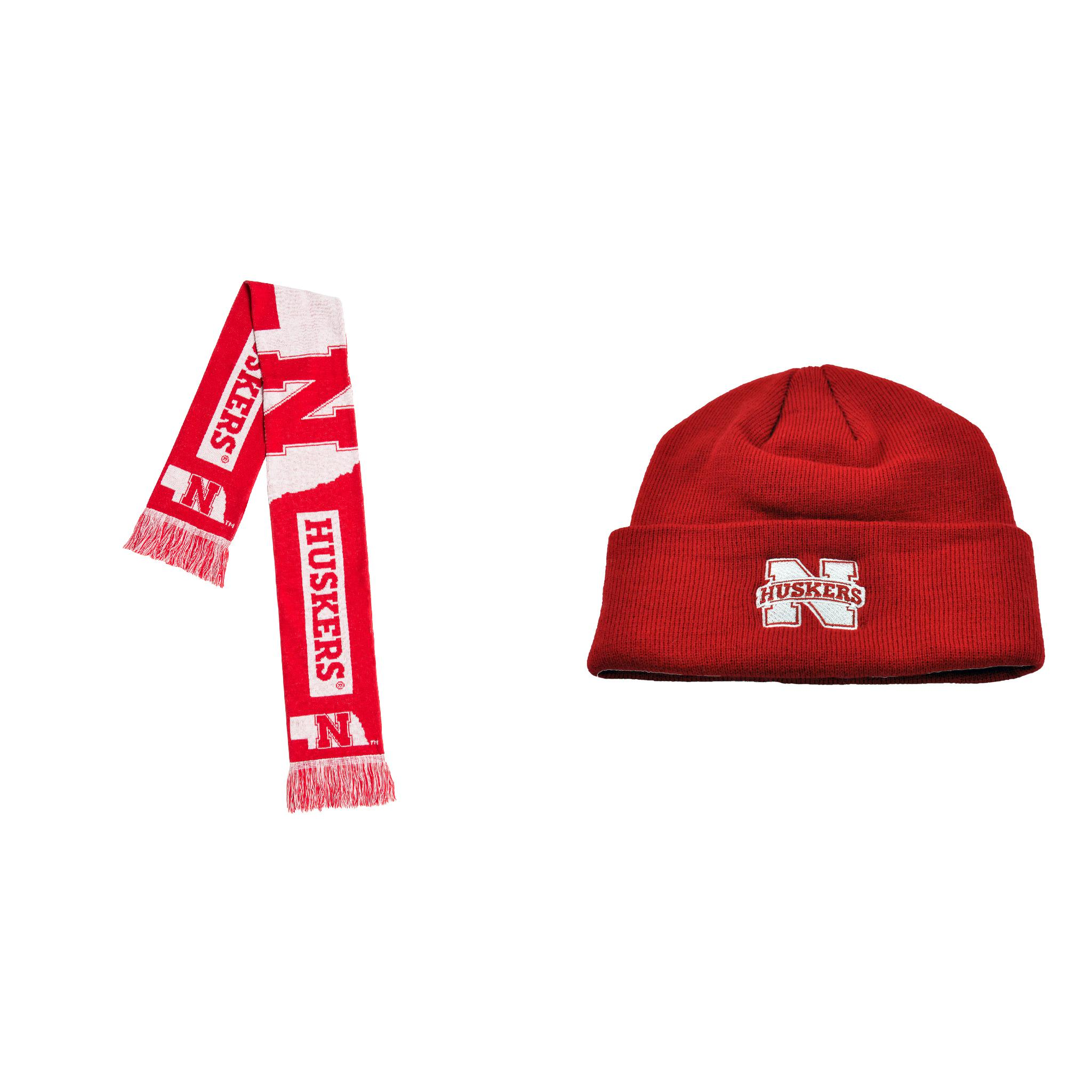 NCAA Nebraska Cornhuskers Simple Knit Beanie And Big Logo Scarf 2 Pack Bundle