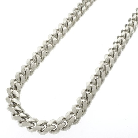Sterling Silver 9mm Miami Cuban Curb Link Thick Solid 925 Rhodium Chain Necklace 24