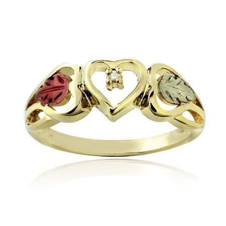 18K Gold over Sterling Silver Two Tone Diamond Accent Heart & Leaves Ring Size 8 2 Tone Gold Diamond Ring