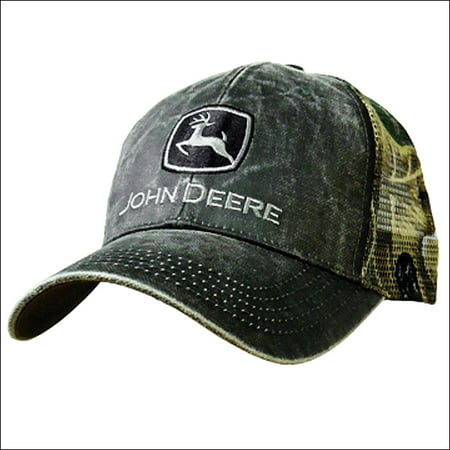 JOHN DEERE MENS COTTON CAMO LOGO BASEBALL CAP W/ NYLON MESH BACK