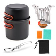 Camping Cookware Set with Camping Folding Spork Cooking Pots Dishcloth For Outdoor Picnic Camping Hiking Backpacking