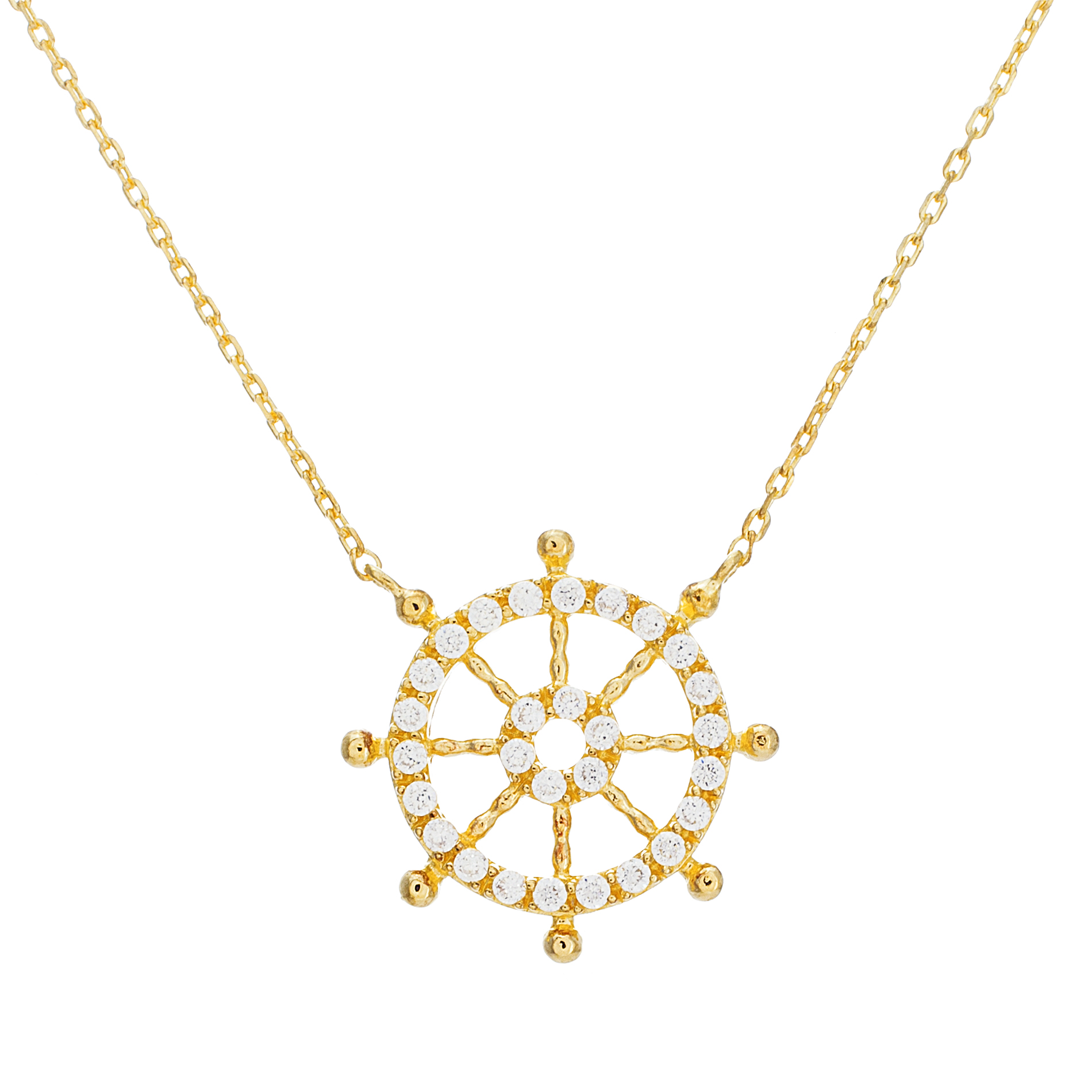 Sterling Silver Cubic Zirconia Ship Wheel Pendant Cable Chain Necklace