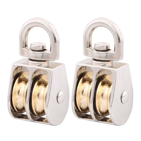 Garage Zinc Alloy Hardware Double Rope Pulley Block Silver Tone 20mm Dia 2  Pcs