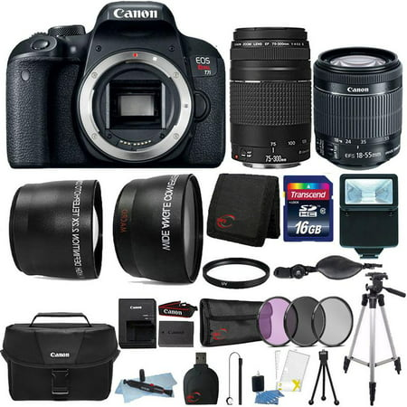 Canon EOS Rebel T7i 24.2MP Built-In WIFI DSLR Camera with 18-55mm Lens , 75-300mm Lens , Canon 100ES Case and 16GB Ultimate Accessory Kit