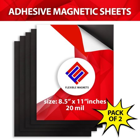 Self Adhesive Magnetic Sheets, All Sizes & Pack Quantity for Photos & Crafts,  By Flexible Magnets- 8.5x11 20 mil - 2 pack (Sheet Magnets)