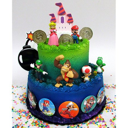 Mario Brothers 23 Piece Birthday Cake Topper Set Featuring