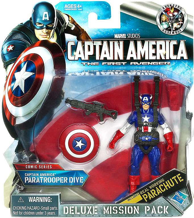 Deluxe Mission Pack Comic Series Captain America Paratrooper Dive Action Figure 29550