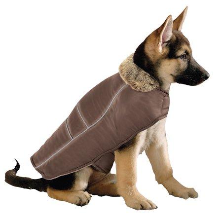 Medium Dog Coat - Faux Fur Collar Dog Winter Jacket, Medium, Brown