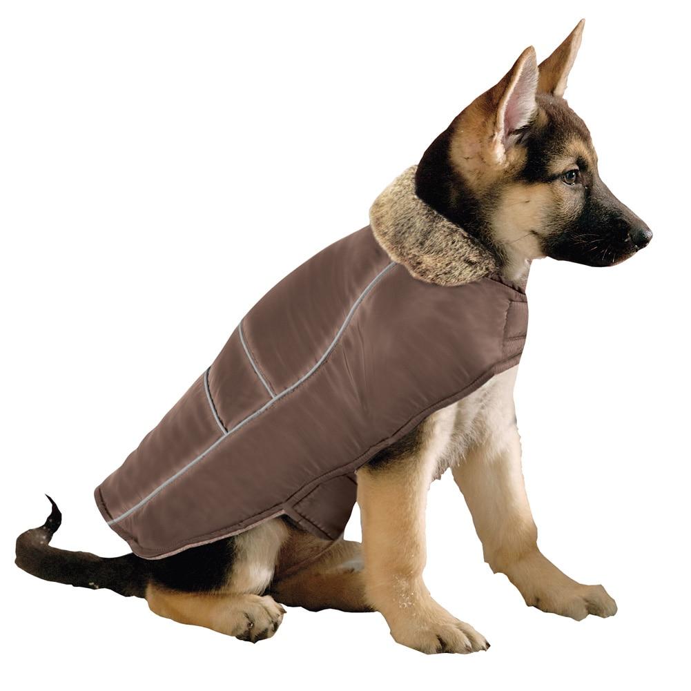 Faux Fur Collar Dog Winter Jacket, Medium, Brown