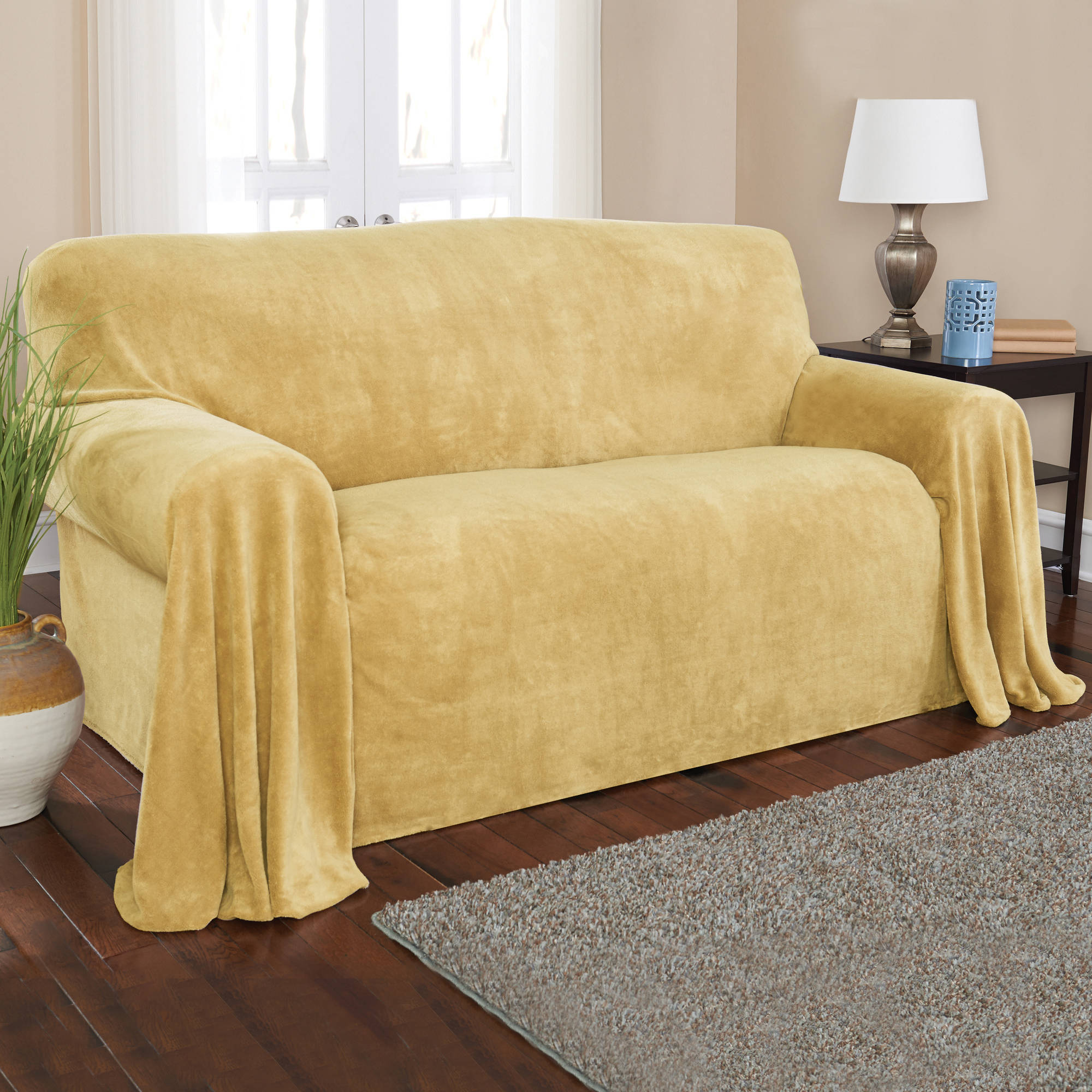 "Sure Fit 170"" Hemmed Plush Throw"