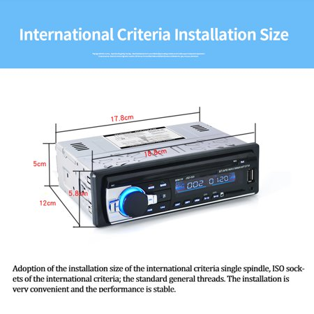 BT Car Stereo Radio Audio Player Receiver In-Dash FM Aux Input WMA WAV MP3  Player with SD/USB Port
