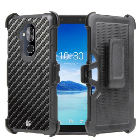 Beyond Cell Rugged Dual Layer Armor Kickstand Cover Case with 360 Degree Rotatable Swivel Belt Clip Holster and Atom Cloth T-Mobile REVVL 2 Plus - Carbon Fiber