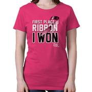 Breast Cancer Awareness Shirt | First Place Ribbon Pink BCA Ladies T-Shirt