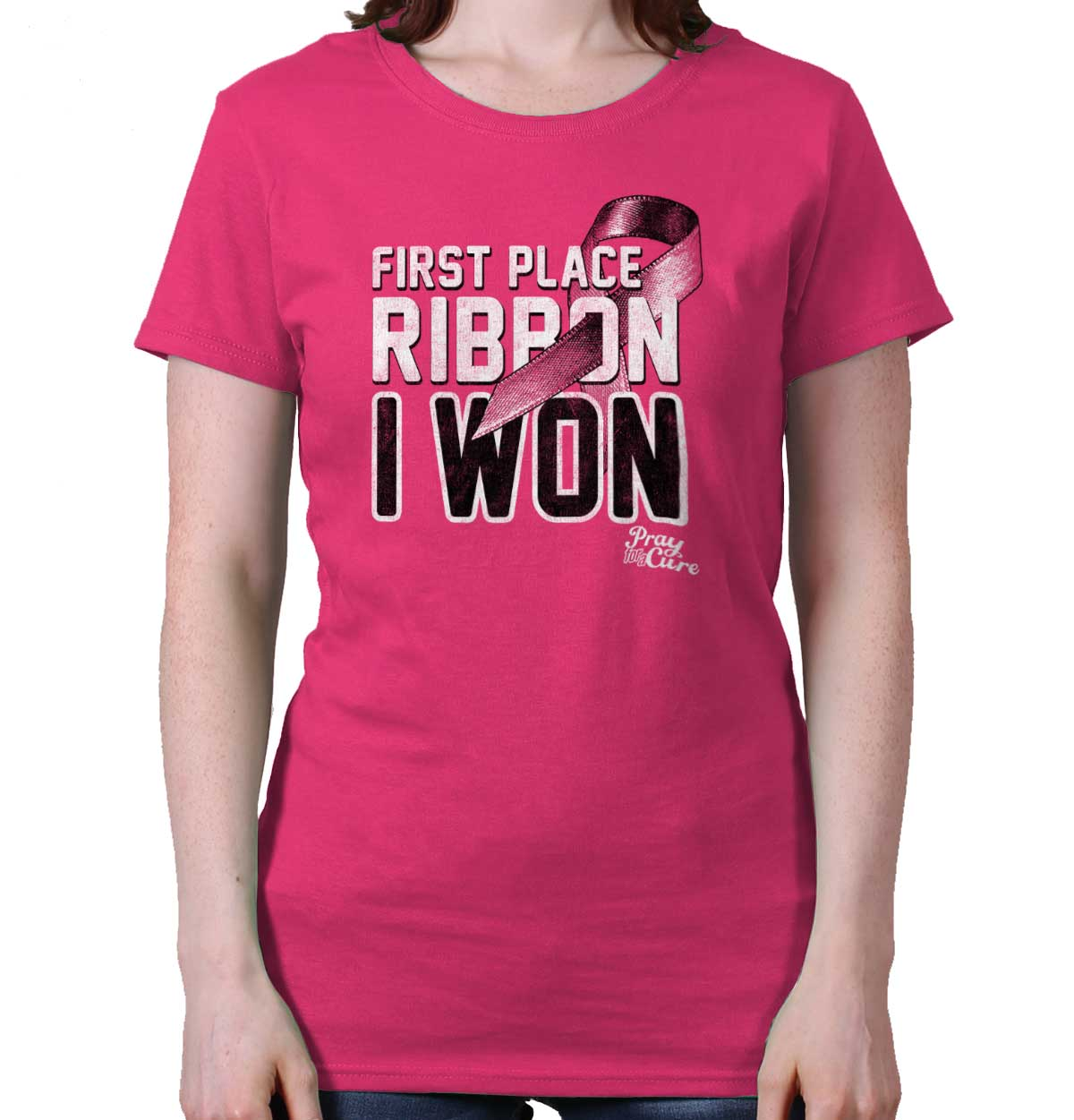 Breast Cancer Awareness Shirt | First Place Ribbon Pink BCA Ladies T-Shirt