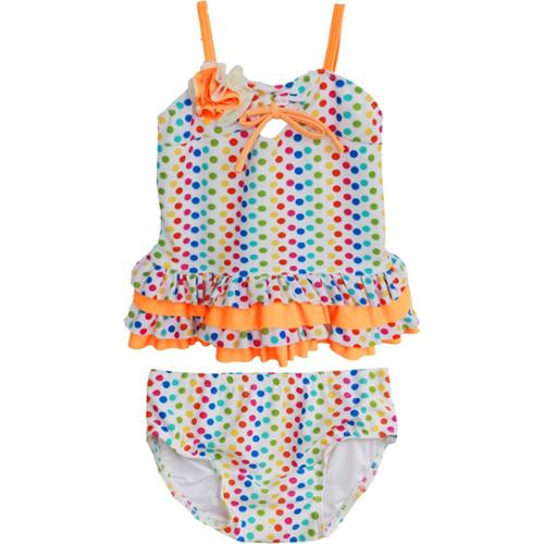 Isobella & Chloe Baby Girls Orange Candy Dots Two Piece Tankini Swimsuit 3M-24M