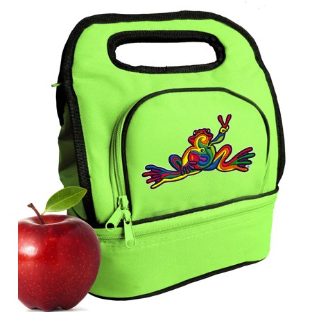 249077b7e94e Peace Frog Lunch Bags Green Peace Frogs Lunch Tote Cooler w/ Two Sections!